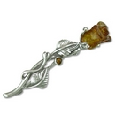 Silver /  Amber Rose Brooch/Pin