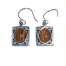 Earrings - Silver Hand-Crafted Tigers Eye Drops