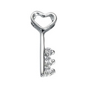 Silver Heart Key with CZ (Pendant and chain)