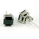 Silver/Black Cubic Zirconia Square Stud Earrings