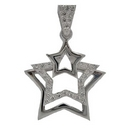 Silver Cubic Zirconia Triple Star Pendant and Chain SN524