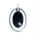 Silver Black Onyx Moving Oval Drop Pendant & Chain