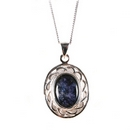 Silver Celtic Oval/Blue John Pendant and Chain