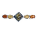 Brooch -  Tri-Coloured Amber Stretch