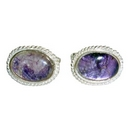 Silver / Derbyshire Blue John Rope Edge Cufflinks
