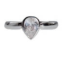 Silver Pear Shaped Clear CZ