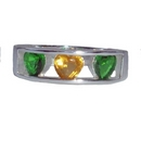 Rings - Silver Green & Yellow CZ Hearts
