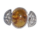 Silver Celtic Amber Ring
