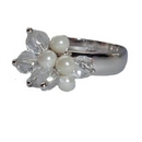 Silver Pearl /  Beaded Ring