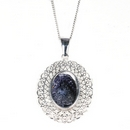 Silver Fine Filigree / Blue John Pendant and Chain