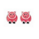 Silver/Pink Pig Stud Earrings